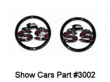 62-63 Chevy Impala Corvette 327//409  X Cross Flag Fender Emblems USA Trim Parts